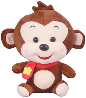 Tickles Brown Soft Plush Smiling Muffler Monkey Toy for Kids Infants 25 cm
