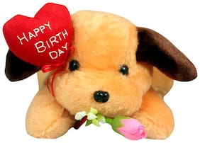 Tickles Brown Cute Puppy with Happy birthday message Soft Stuffed For Kids 25cm