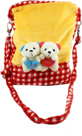Tickles Couple Teddy Sling Bag Soft Stuffed For Kids 29 cm ( 4 L )