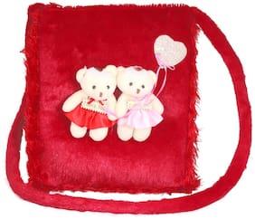 Tickles Couple Teddy Soft Sling Bag for Kids Sling Bag for Kids Girls 27cm