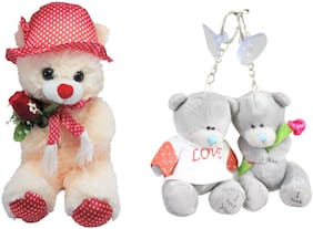 Tickles Cream Teddy and Love Couple Teddy Keychain Soft Toy Gift Set
