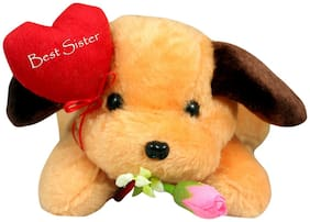 Tickles Cute Dog wth Best Sister Soft Stuffed For Raksha Bandhan Special Gift 26 cm