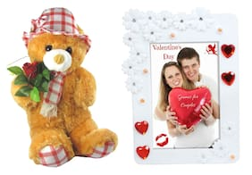 Tickles Cute Teddy with Rose and Love Photo Frame Soft Toy Gift Set ()