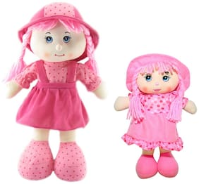 Tickles Cute Soft Plush Mother and Daughter Smiling Doll For Kids 36 cm