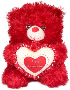 Tickles Cute Teddy With Raksha Bandhan Wishes Heart Soft Stuffed For Raksha Bandhan Special Gift 35 cm