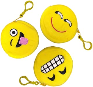 Tickles Emoticon Smiley Coin Purse Pouch Pocket for Girls Women Kids (Yellow 4)