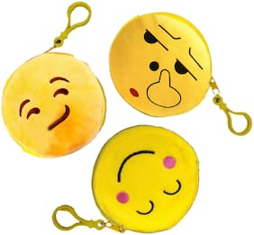 Tickles Emoticon Smiley Coin Purse Pouch Pocket for Girls Women Kids (Yellow 5)