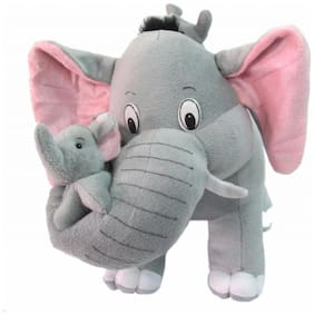 Tickles Gray Mother Elephant with her two Babies Stuffed Soft Plush Toy Love Girl 42 cm