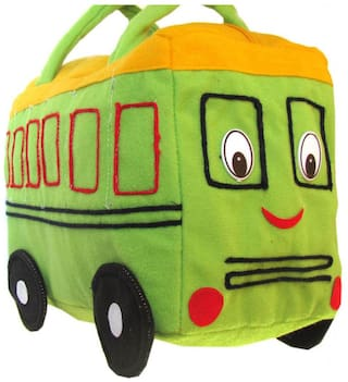 Tickles Green And Yellow Bus Bag Stuffed Soft Plush ( 2 L )