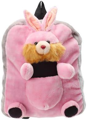 Tickles Grey And Pink Rabbit Shoulder Bag Pink Stuffed Soft Plush ( 3 L )