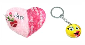 Tickles I Love You Heart Cushion and Kissing Smiley Keychain