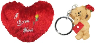 Tickles I Love You Heart Cushion and Love Message Teddy Keychain