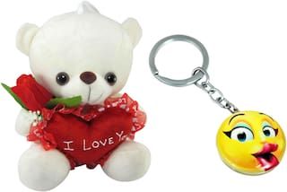 Tickles Jacket Teddy With Rose Stuffed Plush Soft Toys Photo Frame (Red_35 cm)