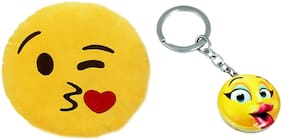 Tickles Kissing sofa Smiley Emoticon Cushion and Kissing Smiley Keychain