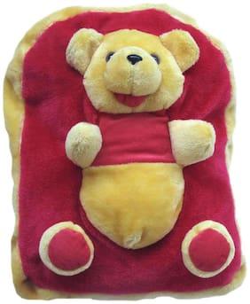 Tickles Maroon Teddy Shoulder School Red Yellow Bag 33 Cm ( 3 L )