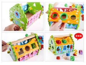 Tickles Multifunction Digital Wisdom House Shape Knock Ball House Educational Wooden Toys for Kids 3 Years Plus