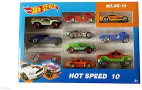 Shanaya Multi Hot Speed Racing Car Toy Set Of 10 Assorted Metal Cars (Multicolor)