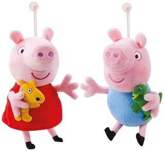 Tickles Peppa Pig and Peppa George Pig Car Hanging Soft Toy 10 cm