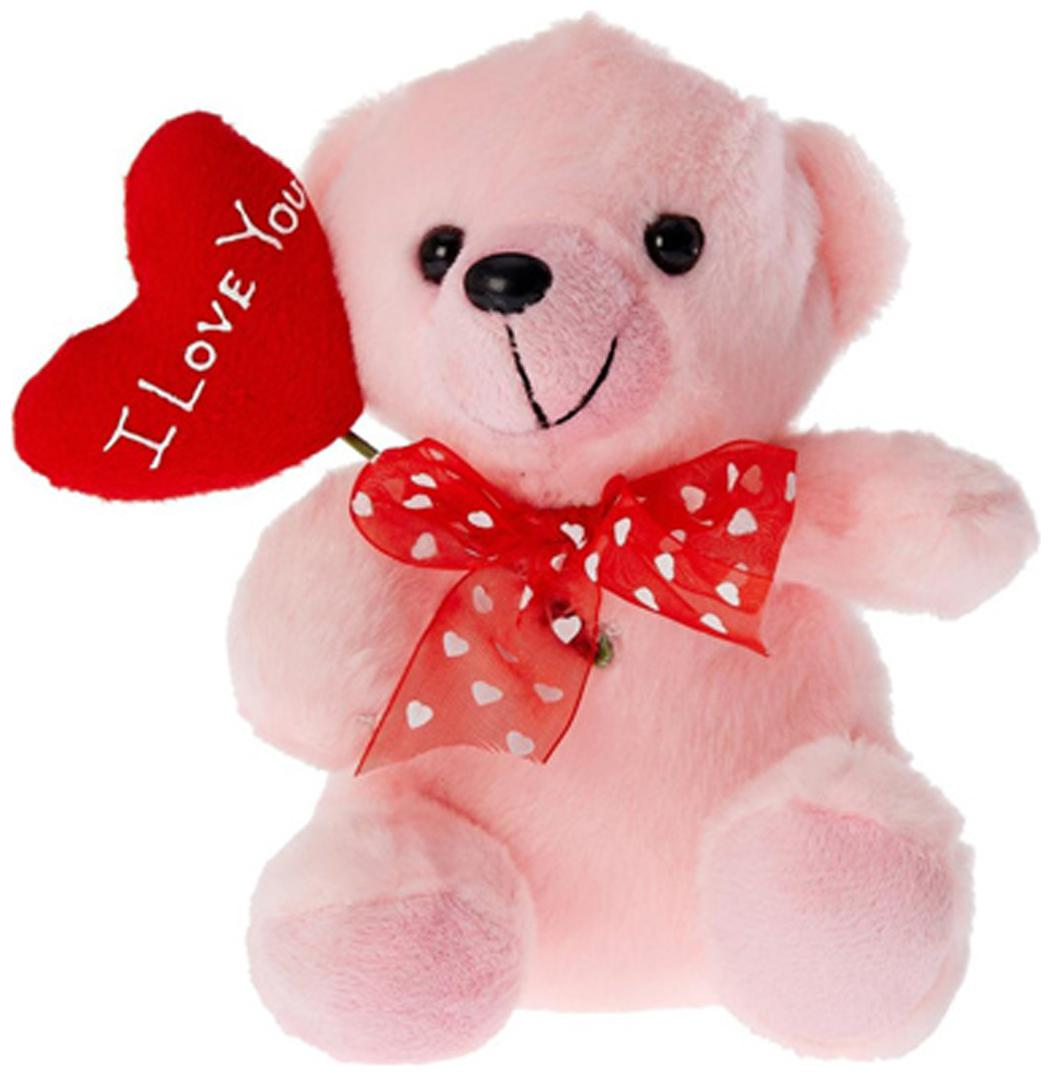 Tickles Pink Teddy With I Love You Balloon Heart Stuffed Soft Toy   16 Cm
