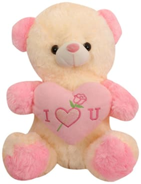 Tickles Pink Teddy With Heart Stuffed Soft Toy - 40 Cm
