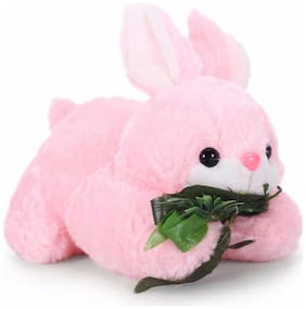 Tickles Pink Cute Rabbit With Leaves Stuffed Soft Plush Toy- 26 Cm
