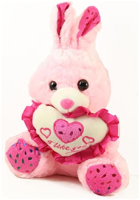 Tickles Pink Rabbit with Heart Stuffed Soft Plush Toy Love Girl 21 cm