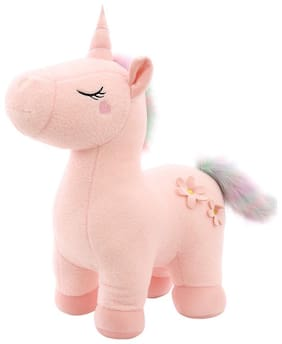 Tickles Pink Soft Plush Unicorn Horse Stuffes Toy (Pink)