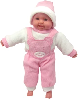 Tickles Pink Soft Plush Laughing Baby Doll For Kids Infants 36 cm