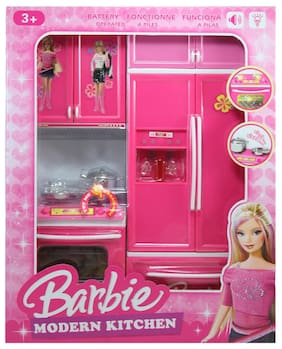 Tickles Pink Modern Kitchen Battery Operated Play Set with Refrigerator + Cooktop + Oven + Cabinet and Accessories + Light and Sound Toy 34 cm