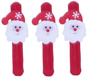 Tickles Red Christmas Santa Claus Hand Bracelet Band (set Of 3) 21 Cm