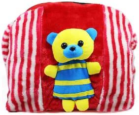 Tickles Red Cute Teddy HangSchool Bags with one side sling School Bags For Kids 28 cm ( 3 Liters )