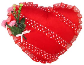 Tickles Red Heart Cushion With Rose Stuffed Soft Toy - 28 Cm