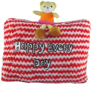 Tickles Red Teddy Happy Every Day Cushion Stuffed Soft Toy - 40 Cm