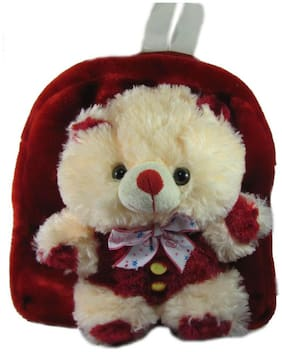 Tickles Red And Cream Teddy Bag Stuffed Soft Plush ( 3 L )