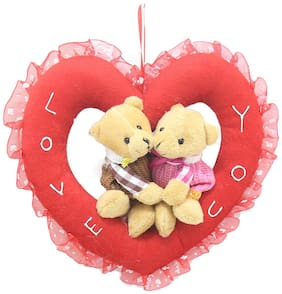 Tickles Romantic Teddy Couple In The Heart Ring Stuffed Soft Plush Toy 20 Cm
