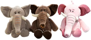 Tickles Set Of 3 Super Soft Elephant Stuffed Soft Toy For Kids Infants 25 cm