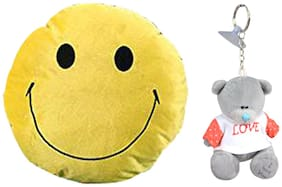 Tickles Smiley Emoticon Round Cushion and Love Teddy Keychain