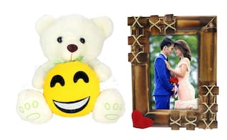 Tickles Teddy With Smile face and Love Couple Photo Frame Soft Toy Gift Set ()