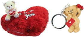 Tickles Teddy I love you cushion and Love Message Teddy Keychain