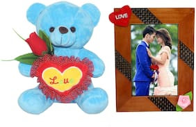 Tickles Teddy with love heart and roses and Love Couple Photo Frame Soft Toy Gift Set ()