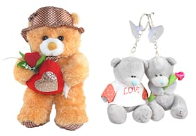 Tickles Teddy With Lovely Heart And Rose Stuffed Soft Plush Toy Key Rings (Brown_40 cm)