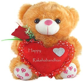 Tickles Teddy With Raksha Bandhan Wishes Heart Soft Stuffed For Raksha Bandhan Special Gift 26 cm