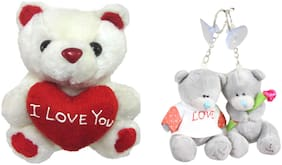 Tickles Tiny Cute Teddy with Heart and Love Couple Teddy Keychain Soft Toy Gift Set