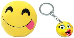 Tickles Whatsapp sofa Smiley Emoticon Tongue out Cushion and Kissing Keychain