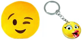 Tickles Whatsapp sofa Smiley Emoticon Winking Cushion and Kissing Keychain