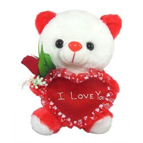 Tickles White Cute Teddy With I Love You Heart And Beautiful Rose Stuffed Soft Plush 25 Cm