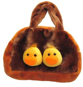 Tickles Yellow And  Brown Two Bird Head Hand Bag 20 Cm ( 2 L )