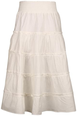 TIDDLYWINGS Girl Cotton Solid Flared skirt - White