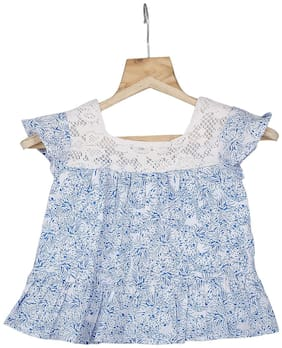 TIDDLYWINGS Cotton Printed Top for Baby Girl - Blue