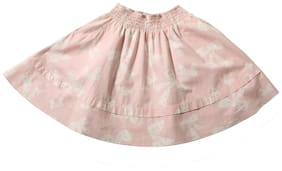 TIDDLYWINGS Girl Cotton Printed Flared skirt - Pink